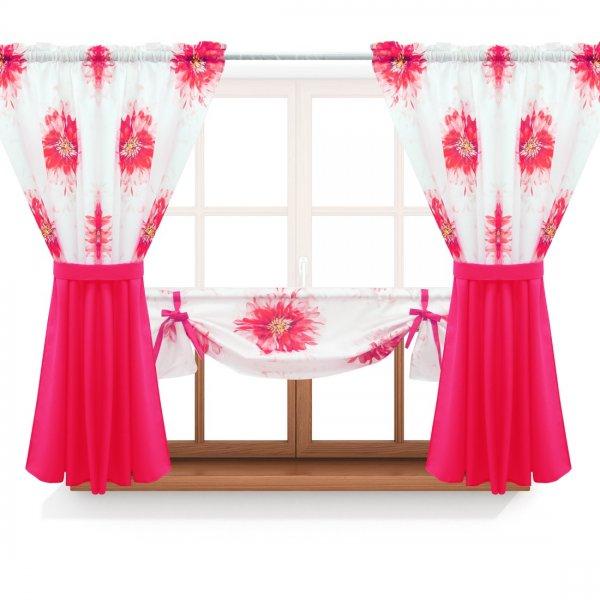 Zasłona GOTOWA ASTER FLOWER PANEL 691-01-404-11 różowy różowy 2 x 145x160 1 x 145x130