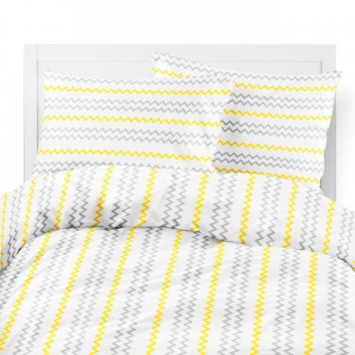 Komplet pościeli bawełnianej 703-01 ZYGZAKI czarno-żółte na białym tle