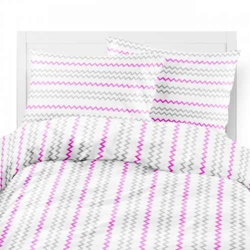 Komplet pościeli bawełnianej 703-02 ZYGZAKI szaro-różowe na białym tle