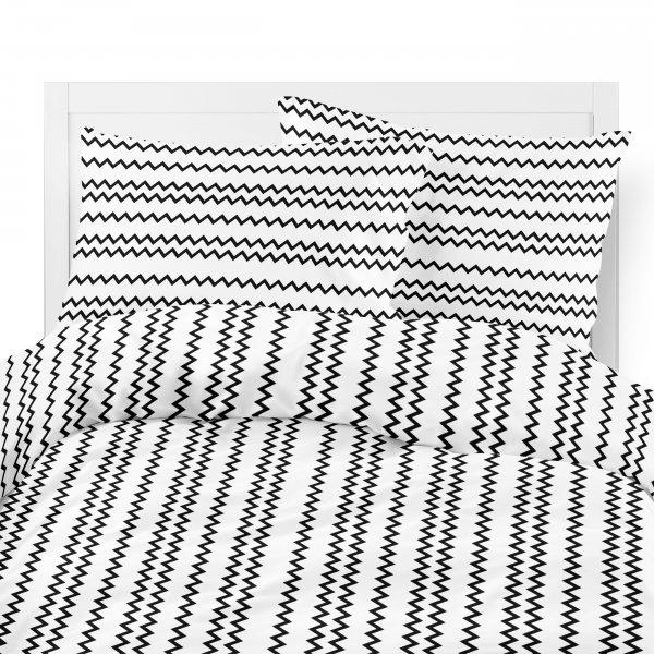 Komplet pościeli bawełnianej 703-04 ZYGZAKI czarne na białym tle
