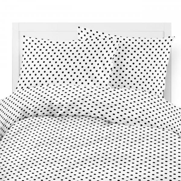 Komplet pościeli bawełnianej 704-03 CZARNE GROSZKI na białym tle