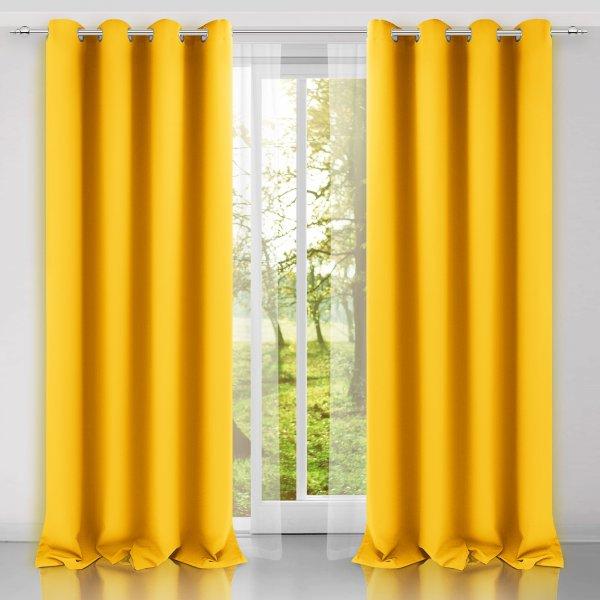 Zasłona gotowa na przelotkach SUNSET 404-05 żółta na kółkach srebrnych