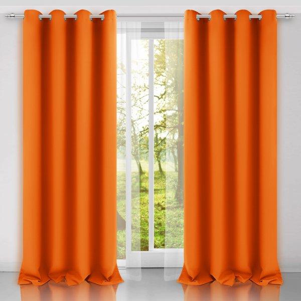 Zasłona gotowa na przelotkach SUNSET 404-06 pomarańczowa na kółkach srebrnych