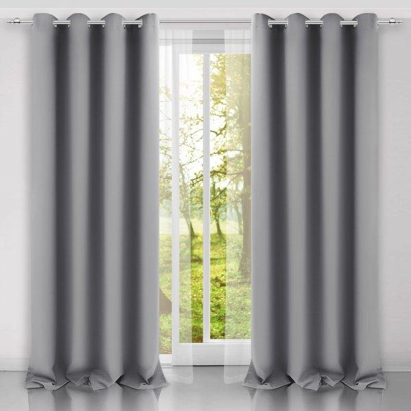 Zasłona gotowa na przelotkach SUNSET 404-31 szara jasna na kółkach srebrnych