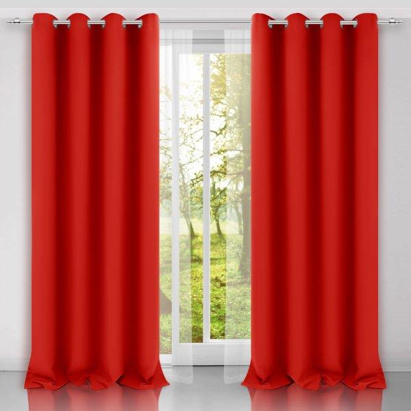 Zasłona gotowa na przelotkach SUNSET 404-45 czerwona mocna na kółkach srebrnych