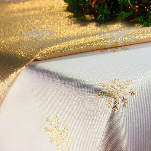 Obrus Świąteczny CHRISTMAS SNOWFLAKE 459-63 biały złoty