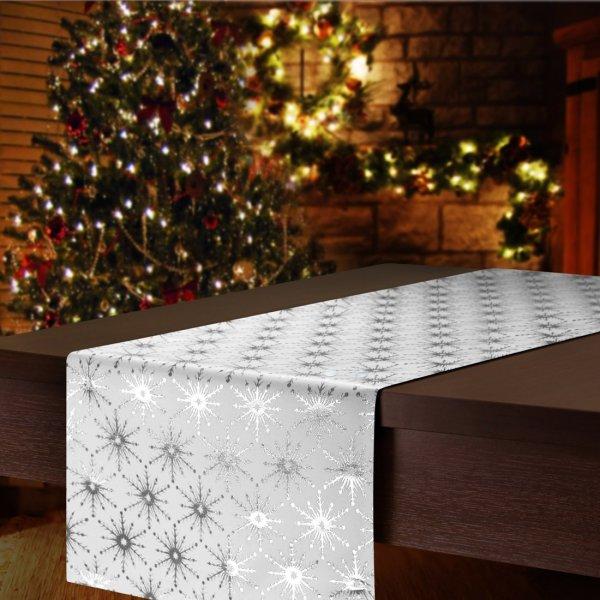 Bieżnik na stół plamoodporny GALAXY STAR SILVER 299-32 srebrny