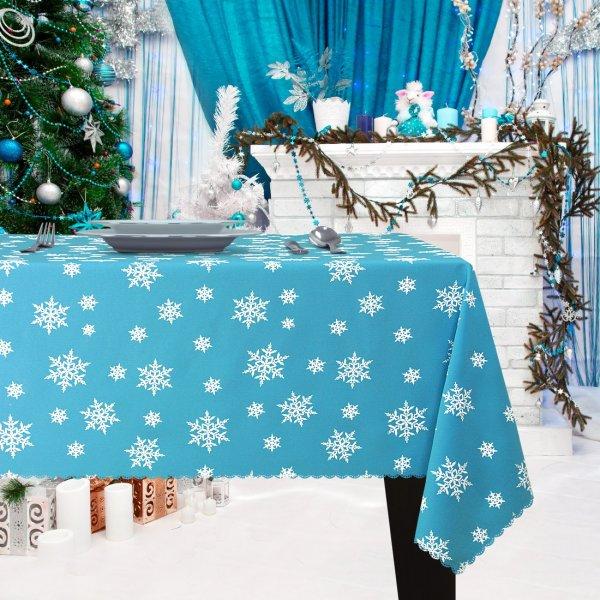 Obrus Świąteczny ŚNIEŻYNKA Boże Narodzenie 914-14-01 błękitny biały