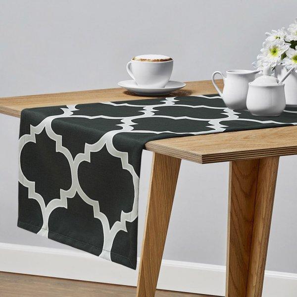 Bieżnik na stół BIG MAROCO 159-94-01 grafit biały
