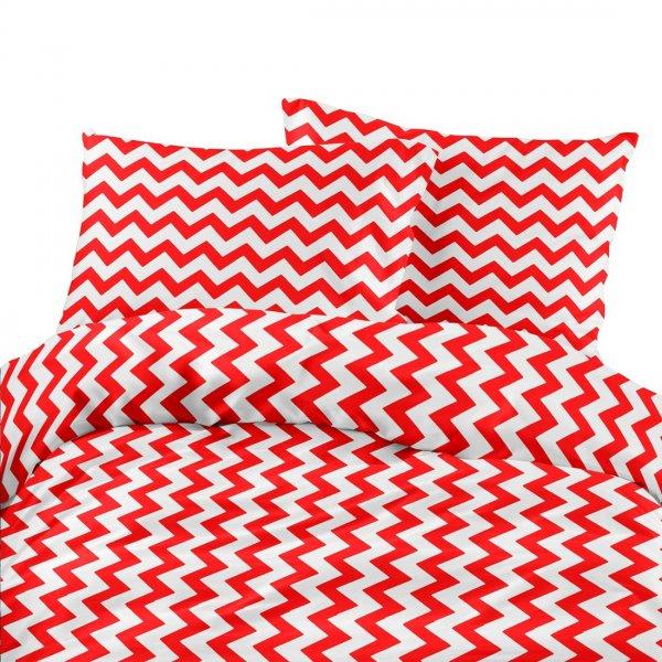 Komplet pościeli bawełnianej 706-11 zygzak gruby czerwono-biały