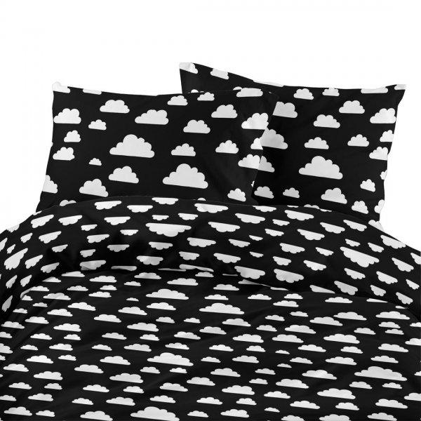 Komplet pościeli bawełnianej 824-05 chmurka biała- tło czarne