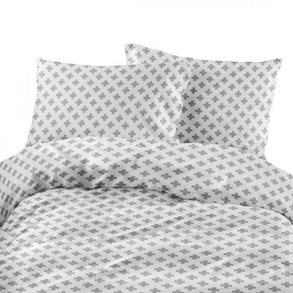 Komplet pościeli bawełnianej 713-03 Plus szary- tło białe