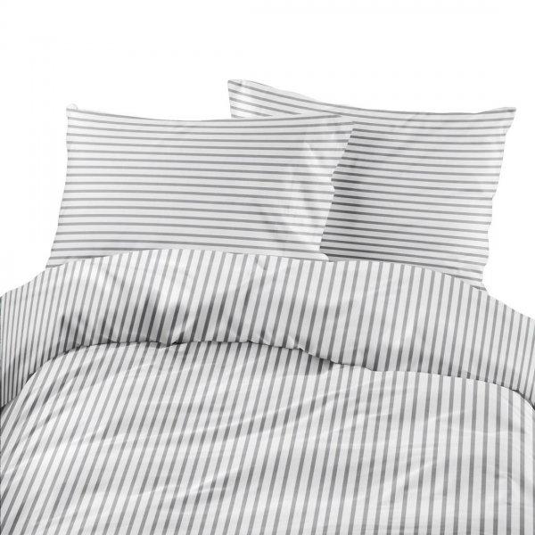 Komplet pościeli bawełnianej 710-06 paski biało-szare