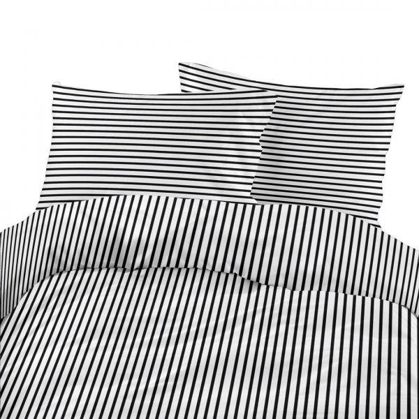 Komplet pościeli bawełnianej 710-01 paski biało-czarne