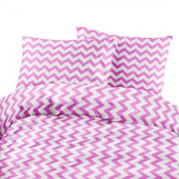 Komplet pościeli bawełnianej 706-08 zygzak gruby różowo-biały
