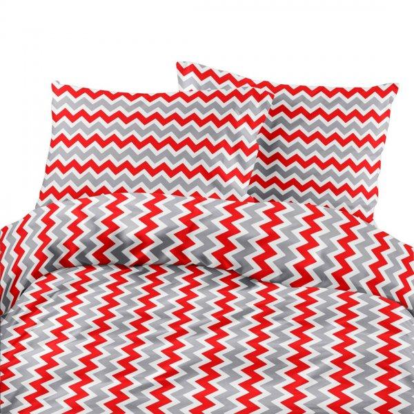 Komplet pościeli bawełnianej 706-14 zygzak gruby czerwono-szaro-biały