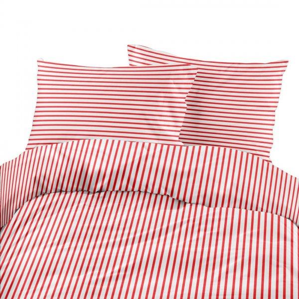 Komplet pościeli bawełnianej 710-02 paski biało-czerwone