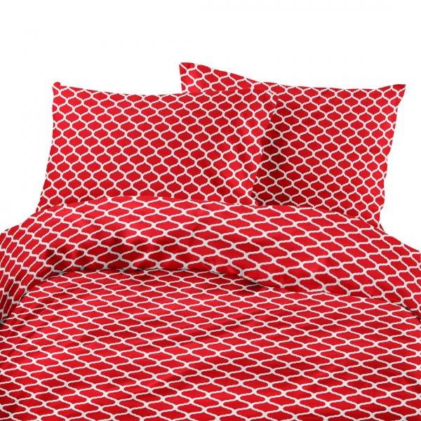 Komplet pościeli bawełnianej 712-02 siatka czerwona