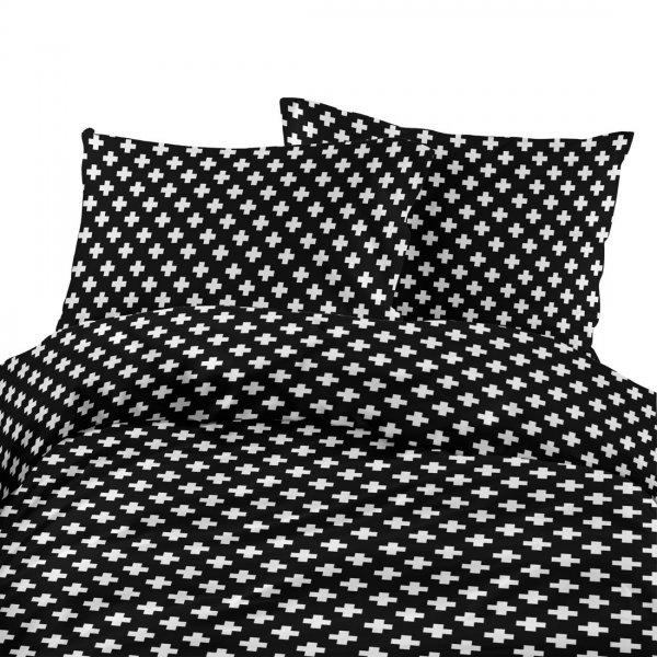 Komplet pościeli bawełnianej 713-02 Plus biały- tło czarne