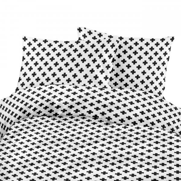 Komplet pościeli bawełnianej 713-05 Plus czarny- tło białe