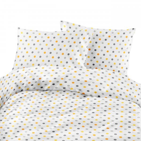 Komplet pościeli bawełnianej 728-01 GROSZKI 2cm żółto-szare na białym tle