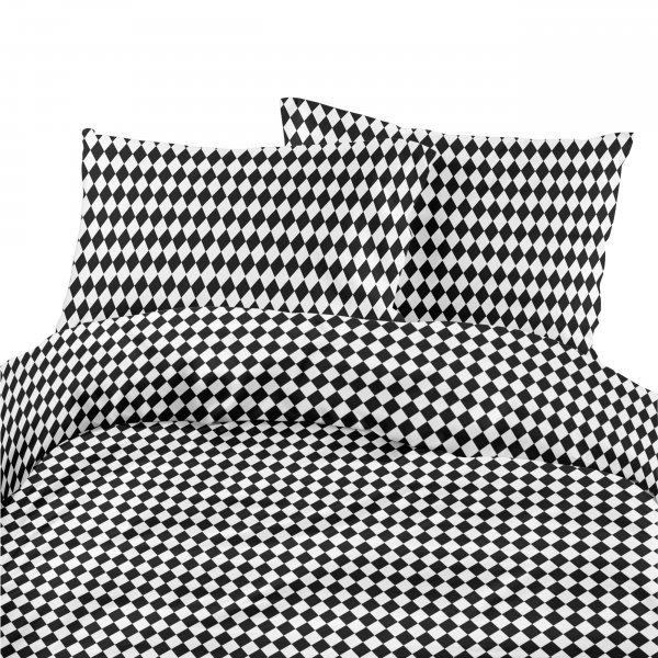 Komplet pościeli bawełnianej 731-03 SZACHOWNICA czarno-biała