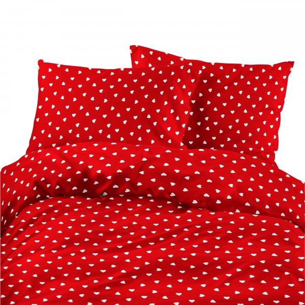 Komplet pościeli bawełnianej 732-05 SERDUSZKA 1 białe na czerwonym tle