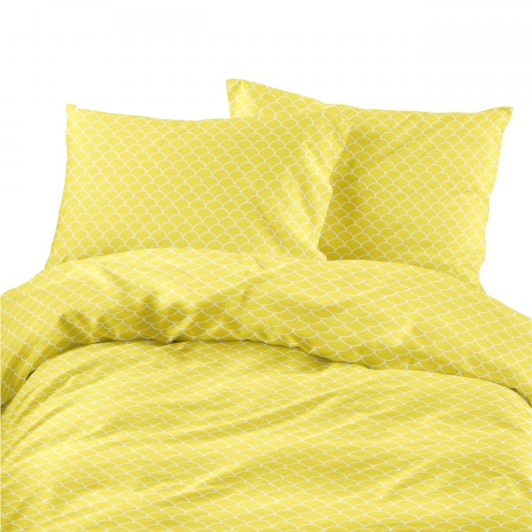 Komplet pościeli bawełnianej 733-01 ŁUSKI żółte