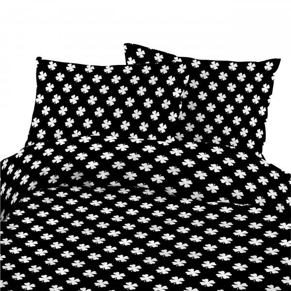 Komplet pościeli bawełnianej 736-03 KONICZYNKA biała na czarnym tle