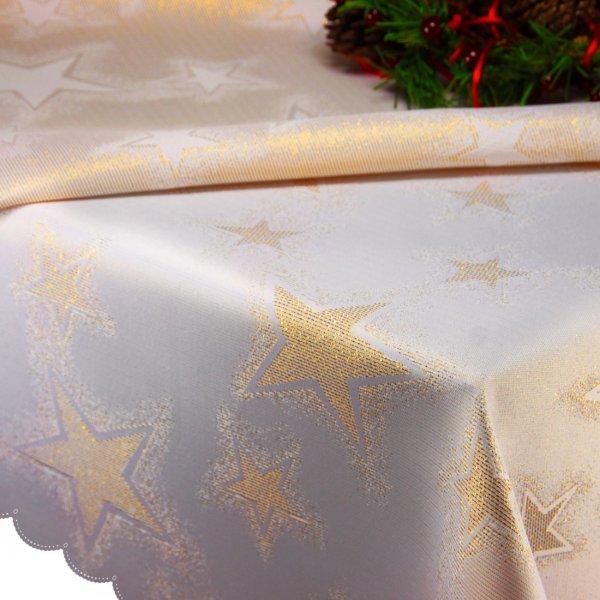 Obrus Świąteczny CHRISTMAS STAR GOLD 457-63 biały złoty