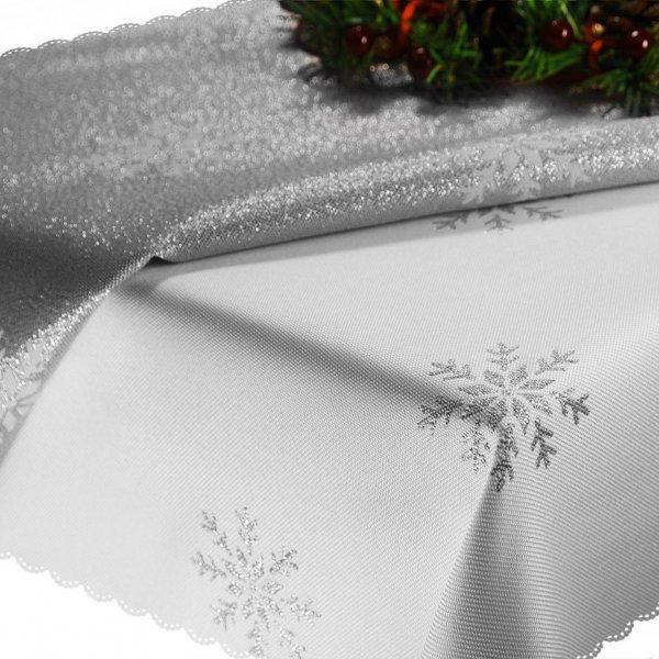 Obrus Świąteczny CHRISTMAS SNOWFLAKE 459-32 biały srebrny